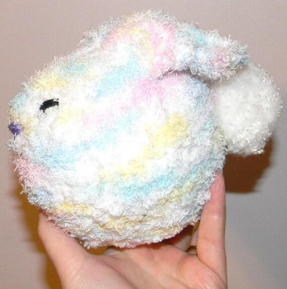 Knit Bunny Rattle--Rainbow