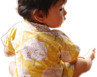 Baby Clothing Baby Kimono Baby Top Shirt - Tree Of Life- Joel Dewberry 100% Printed Cotton - Sizes from Newborn to 24 Mo