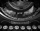 Vintage Typewriter, Keys, Underwood, Writer, Office, Home Decor, Original Fine Art Photograph, Print, Black, and White