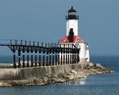 Lighthouse Indiana, nautical, red, white, and blue, home decor, fine art original photograph, 8x10 print