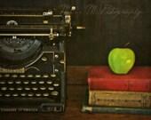 Teacher's Pet, vintage typewriter, books, apple, chalkboard, office, home decor, original fine art photograph, 8x10 print