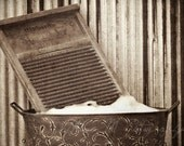 Vintage, rustic, sepia brown, laundry washboard, wash day, country/farmhouse home decor, original fine art photograph, 5x7 print