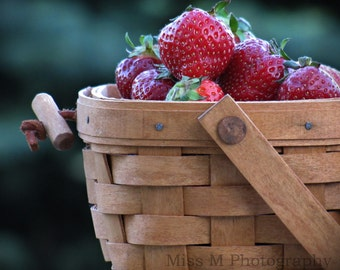 Red, Strawberries, Summer, Farmer's Market, Basket, Kitchen, Country, Farmhouse, Rustic, Home Decor, Fruit, Original Art Photograph, Print