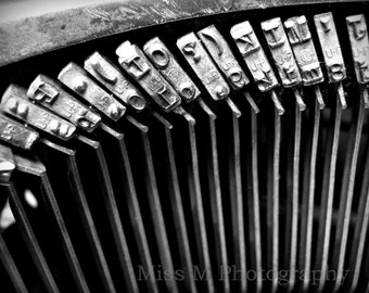 Vintage typewriter keys, back to school, black, white, original fine art photograph, office, home decor, Dorm, Office, Writer, Print