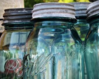 Teal blue ball canning jars country, farmhouse, rustic home decor, kitchen photograph, original fine art print