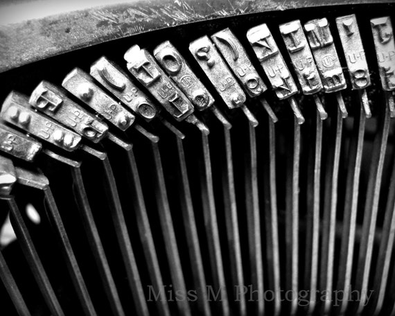 Vintage typewriter keys, back to school, black and white, original fine art photograph, office, home decor, 8x10 print