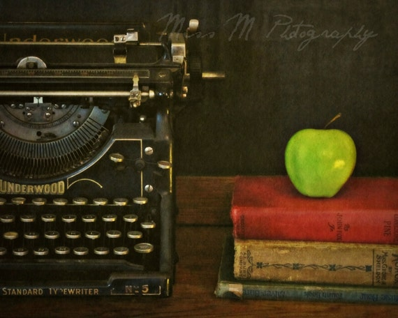 Teacher's Pet, vintage typewriter, books, apple, chalkboard, office, home decor, original fine art photograph, 8x10 print