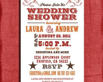 Printable Western Couples Wedding Shower  4x6 Invitation-DIY