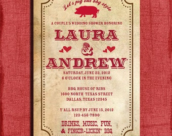 BBQ Couples Wedding Shower  4x6 Invitation-Printable and DIY