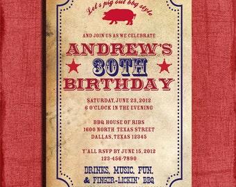 BBQ Birthday Invitation or  Surprise Birthday  4x6 Invitation-Printable and DIY
