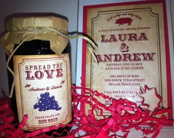 "Printable BBQ ""Spread the Love"" Jam Labels for Parties or Wedding Showers -DIY"