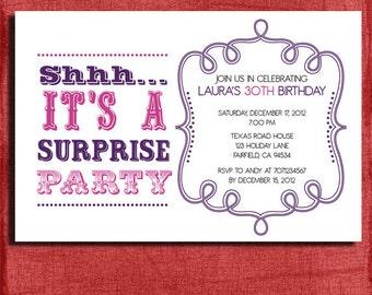 Vintage Style Surprise Birthday  Invitation 4x6 Invitation-DIY Printable