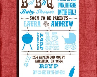 Baby Q BBQ Baby Shower 4x6 or 5x7 Invitation-DIY