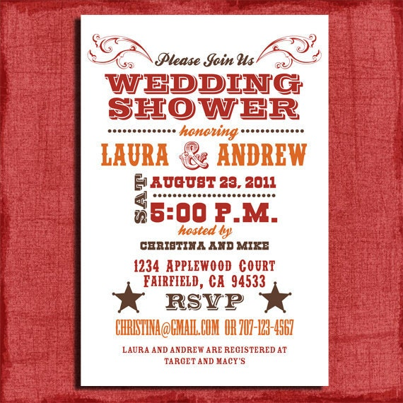 printable western couples wedding shower 4x6 invitation-diy,
