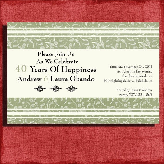 Printable 25th 40th Or 50th Wedding Anniversary Invitation 4x6 Invitation DIY By PuzzlePrints