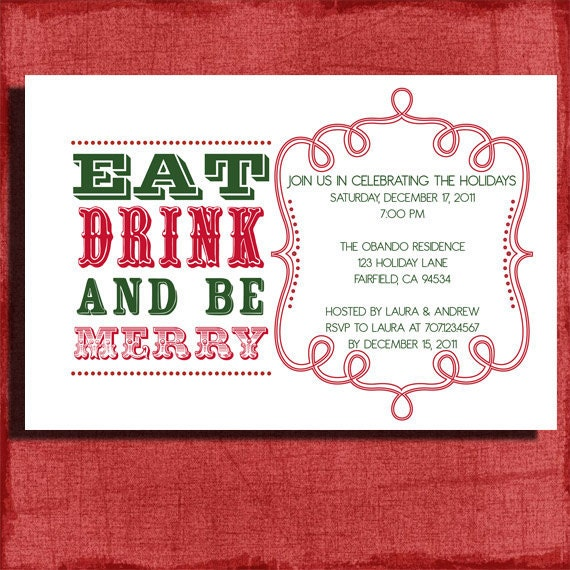 Retro Holiday Party Invitation 4x6 Invitation Print At Home