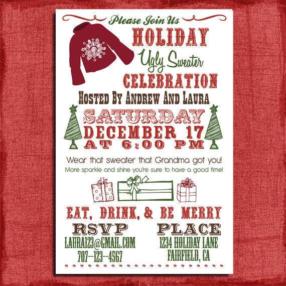 items similar to holiday/christmas ugly sweater party invitation, Party invitations