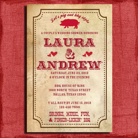 Bbq couples wedding shower 4x6 by puzzleprints on etsy for Wedding couples shower invitations