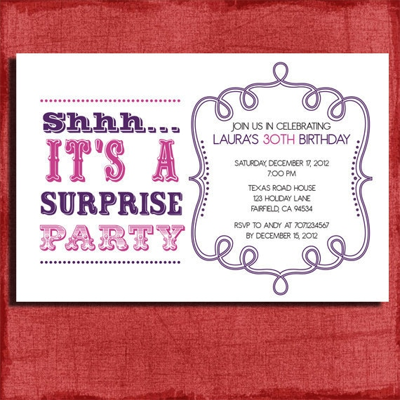Vintage Style Surprise Birthday Invitation 4x6 Invitation-DIY Printable by PuzzlePrints | Catch ...