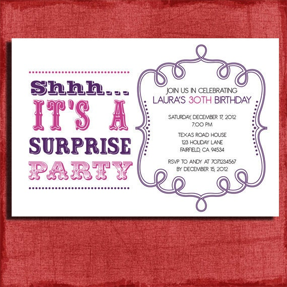 Punchy image regarding free printable surprise birthday invitations