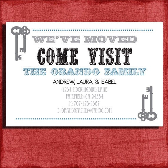 Printable Vintage Just Moved Announcement  4x6 or 5x7-DIY