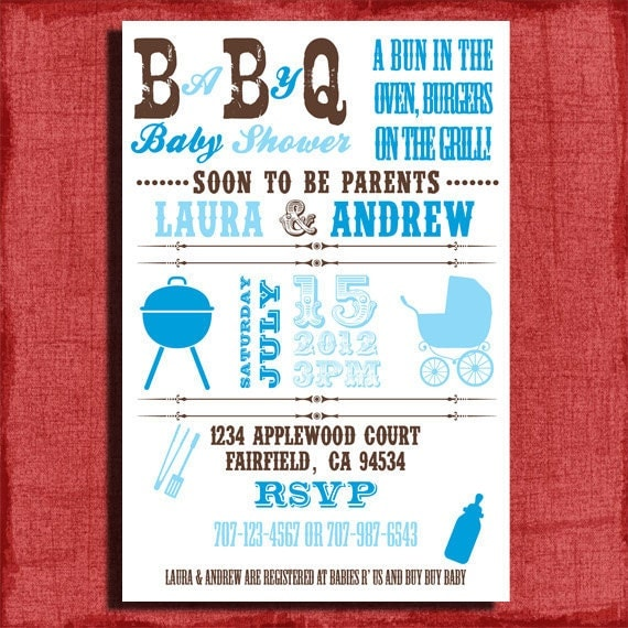 printable baby q bbq baby shower 4x6 or 5x7 invitation diy by