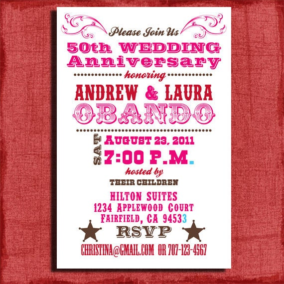 Printable 25th Or 50th Wedding Western Anniversary Invitation