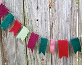 Felt and Ribbon Christmas Garland in Rustic Red, Green, Gingham - 5 ft