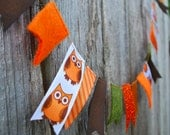Fall Garland Owl Ribbon and Felt - 3 ft, Owls, Glitter, Green and Brown for Autumn