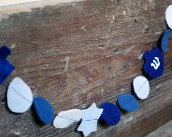 Hanukkah Garland Felt - 3 ft, Hand-Cut Felt Dreidels and Stars of David in Blues