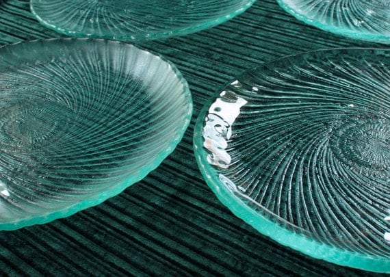 Spiral Recycled Glass Plate Set of 4, MADE TO ORDER