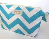 Small Wet Bag makeup Bag Waterproof lining in Turquoise Chevron