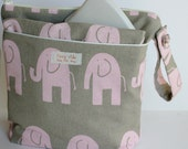 FREE SHIPPING Baby Diaper Wet Bag SET With Dry Pocket and Changing Pink Elephants