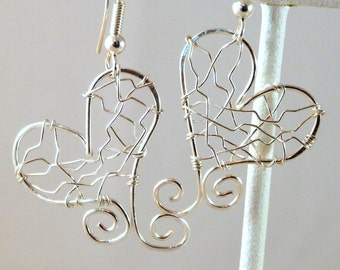 Love Wire Silver Earrings