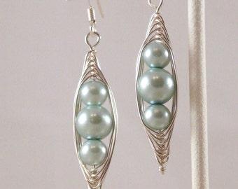 Blue glass Pearl Herringbone Wrapped Earring