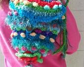Freeform Crochet Tibetian inspired Happy Buddha purse