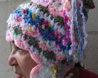 freeform crochet Happy Hat with ear tabs