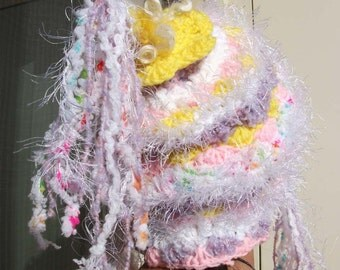 freeform crochet soft fluffy  hat with ear tabs