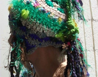 SALE on.....Tibetian inspired HAPPY KARMA freeform crochet hat
