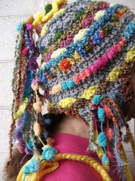 freeform Tibet inspired ear tab HAPPY KARMA hat
