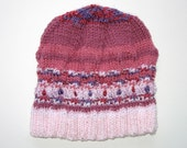 Girls / Unisex Retro Handmade Cable Knitted Wool Beanie Hat . Gift Idea . Size - Age: 4 5 6 7 8 . OOAK . Made in Australia