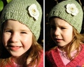 Girls Retro HANDMADE Green Knitted Acrylic Mix Beanie Hat with Flower & Buttons . Gift Idea . Size - Age: 2 3 4 . OOAK . Made in Australia