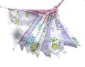 Vintage Pretty Pastel Floral Lavender & Lilac Doily Lace, Floral Flag Bunting. Wall hanging, Kitchen Tea Party, Wedding etc