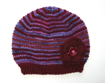 Girls Retro HANDMADE Purple Maroon Knitted Wool Beanie Hat - Flower & Buttons . Gift Idea . Size - Age: 3 4 5 6 7 . OOAK . Made in Australia