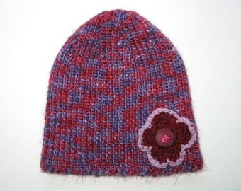SALE : Girls Retro Handmade Purple / Pink Knitted Acrylic Beanie Hat with Flower & Buttons . Gift Idea . OOAK . SIZE 3 4 5 6