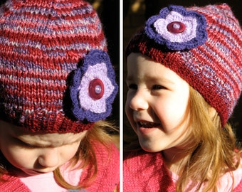 Girls Retro Handmade Purple Maroon Knitted Wool Beanie Hat with Flower & Buttons . Gift Idea . OOAK . Size 2 3 4 5 6 . Made in Australia