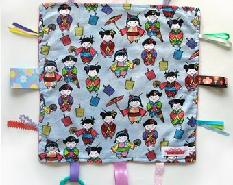 SALE Taggy Snuggly Tag Toy Mini Blankie BABY Comforter Taggie - Japanese Geisha Kimono Girls