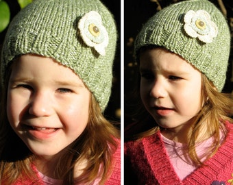 SALE - Girls Retro HANDMADE Green Knitted Acrylic Mix Beanie Hat with Flower & Buttons . Gift Idea . Size - Age: 2 3 4 5. OOAK .