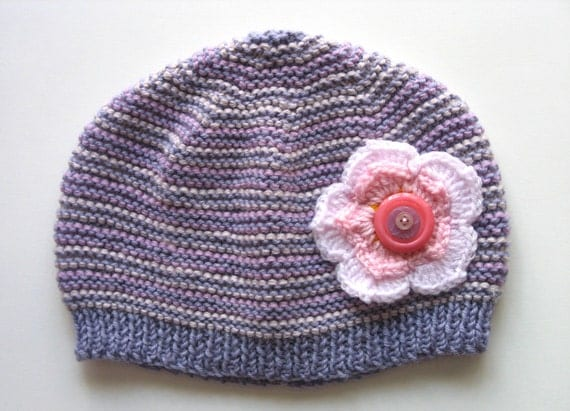 Womens / Ladies Retro Handmade Knitted Wool Beanie Hat with Flower & Buttons :  Birthday Christmas Gift Idea