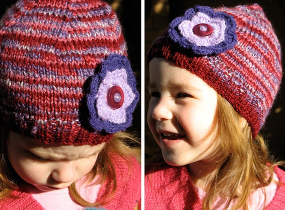 Girls Retro Handmade Purple Maroon Knitted Wool Beanie Hat with Flower & Buttons . Gift Idea . OOAK . Size 2 3 4 5 . Made in Australia